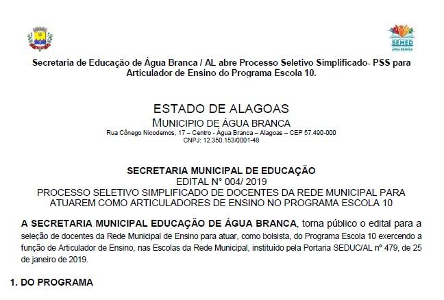 bb20607239 Prefeitura lança portaria para seleção do Programa Escola 10 Confira o  resultado