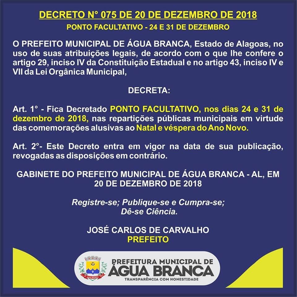 2d16da2496 PREFEITURA DECRETA PONTO FACULTATIVO NOS DIAS 24 E 31 DE DEZEMBRO